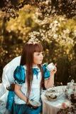 Bambina sveglia in un tè bevente del giardino della molla Fotografie Stock
