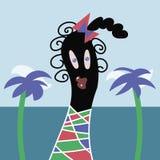 Bambina tropicale allegra positiva sveglia e allegra sull'illustrazione di vettore del fondo del mare e della palma illustrazione vettoriale