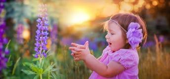 Bambina in un campo immagini stock libere da diritti