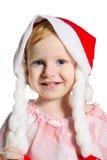 Bambina in un cappello di Natale Fotografia Stock Libera da Diritti