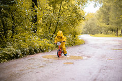 Bambina in un parco di autunno su una bici vicino ad una pozza Fotografia Stock