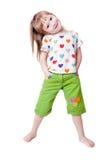 Bambina in una maglietta con i cuori Immagine Stock Libera da Diritti