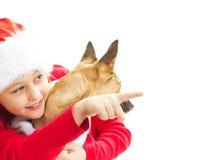 Bambina in vestiti di Natale Fotografia Stock