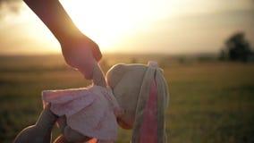 Bambina in vestito festivo rosa che tiene il grande giocattolo del coniglietto della peluche al tramonto Siluetta di un bambino c archivi video