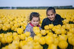 Bambine adorabili che giocano in un campo dei tulipani gialli di fioritura fotografia stock libera da diritti