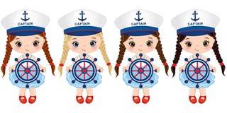 Bambine sveglie di vettore vestite nello stile nautico con le ruote delle pecore illustrazione di stock