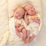 Bambini addormentati dei gemelli monozigoti Fotografia Stock Libera da Diritti