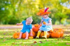 Bambini adorabili alla toppa della zucca Fotografia Stock