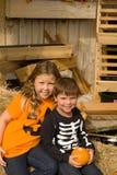 Bambini adorabili in vestiti di Halloween immagini stock libere da diritti