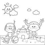 Bambini al nuoto ed alla costruzione della spiaggia un castello di sabbia Pagina in bianco e nero del libro da colorare illustrazione vettoriale