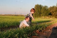 Bambini all'aperto sulla natura Immagine Stock Libera da Diritti