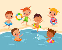Bambini alla spiaggia royalty illustrazione gratis