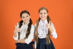 Bambini allegri Motivazione che studia con il migliore amico Compagni di classe dell'uniforme scolastico dei migliori amici delle fotografia stock libera da diritti