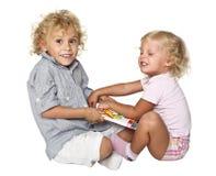 Bambini biondi isolati Fotografia Stock