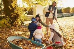 Bambini che aiutano i genitori a raccogliere Autumn Leaves In Garden Immagini Stock Libere da Diritti
