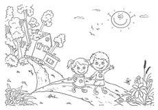 Bambini che camminano nella campagna illustrazione di stock