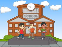 Bambini che cantano davanti alla loro illustrazione di vettore del fumetto della scuola illustrazione di stock