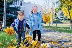 Bambini che danno dei calci ai fogli di autunno Fotografia Stock