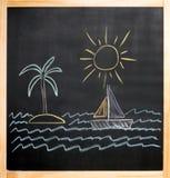 Bambini che disegnano il mare della barca a vela dell'isola di palma del sole Fotografia Stock Libera da Diritti