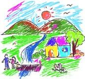 Bambini che disegnano la famiglia multicolore di simboli Fotografia Stock Libera da Diritti
