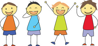 Bambini che disegnano - sorridere felice dei bambini Fotografie Stock Libere da Diritti