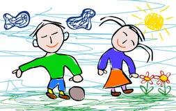 Bambini che disegnano stile del ragazzo e della ragazza Immagini Stock