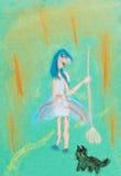 Bambini che disegnano - strega con la scopa Fotografie Stock Libere da Diritti