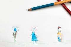 Bambini che estraggono una matita Fotografie Stock Libere da Diritti