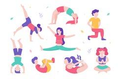 Bambini che fanno l'insieme di esercizi fisici di varie pose ed i personaggi dei cartoni animati svegli dei bambini su fondo bian illustrazione vettoriale