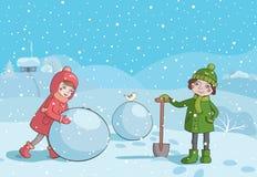 Bambini che fanno pupazzo di neve di mattina Fotografie Stock