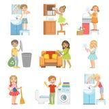 Bambini che fanno una pulizia domestica illustrazione di stock