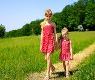Bambini che funzionano attraverso l'erba verde esterna. Fotografia Stock Libera da Diritti