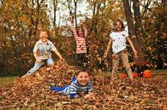 Bambini che gettano le foglie sul ragazzo fotografie stock