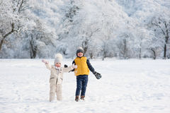 Bambini che gettano neve vicino alla foresta Immagine Stock