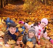 Bambini che giocano in autunno   Fotografia Stock Libera da Diritti