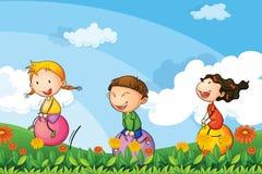 Bambini che giocano con i palloni di rimbalzo illustrazione vettoriale