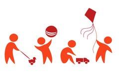 Bambini che giocano le icone Fotografia Stock Libera da Diritti