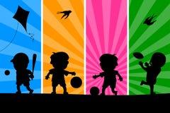 Bambini che giocano le siluette [1] Fotografia Stock