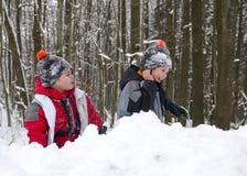 Bambini che giocano nella neve nell'inverno fotografia stock