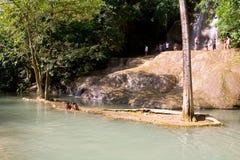 Bambini che giocano su un'isola in un parco Immagini Stock Libere da Diritti