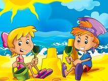 Bambini che giocano sulla spiaggia Fotografie Stock