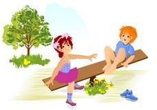 Bambini che giocano, vettore dei cdr Immagine Stock