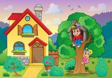 Disegno di casa dei bambini della campagna illustrazione for Programma di disegno della casa libera