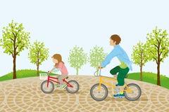 Bambini che guidano bicicletta nel park-EPS10 illustrazione vettoriale