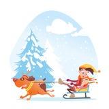 Bambini che guidano grande cane nel gioco di inverno Fotografie Stock Libere da Diritti