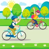 Bambini che guidano le bici illustrazione di stock