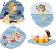 Bambini che indossano il vestito di immersione con bombole royalty illustrazione gratis