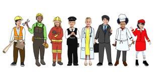 Bambini che indossano Job Uniforms futuro illustrazione vettoriale