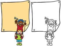 Bambini che mettono sui segni Immagini Stock Libere da Diritti