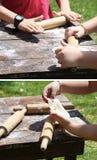 Bambini che producono pasta Fotografia Stock Libera da Diritti